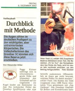 Sportsvision Dresden Ausschnitt Artikel